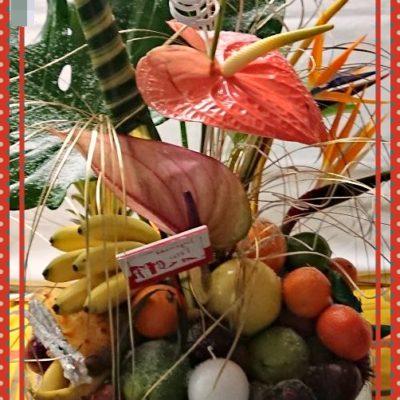 banane frécinette,letchi, mangue,goyave,clémentine,anthurium,oiseau du paradis